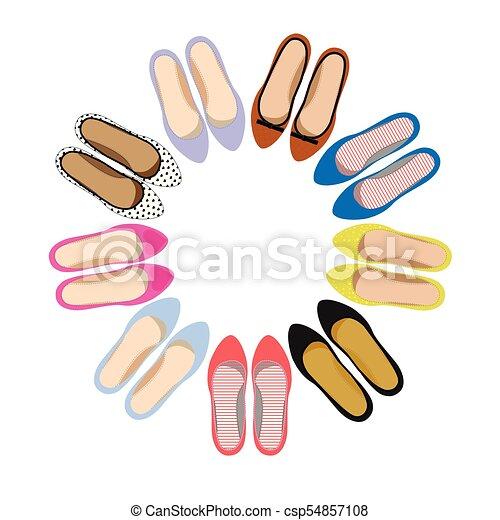 Imágenes de zapatos de verano femeninos. - csp54857108