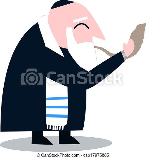 Rabino con talit vuela el shofar - csp17975885