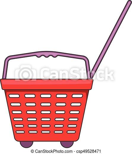 Shop basket with wheels icon, cartoon style - csp49528471