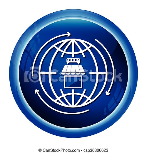 Shop building and world icon sign store building icon vector shop building and world icon sign csp38306623 publicscrutiny Choice Image