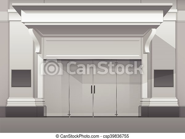 Shop Building Store Front With Closed Glass Door Vector Classic