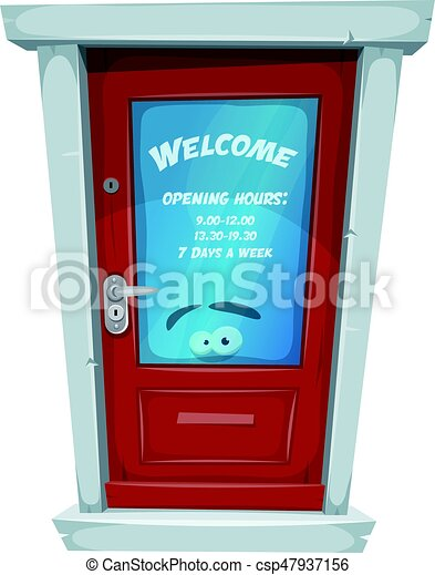 Shop Entrance Door With Opening Hours Illustration Of A Cartoon