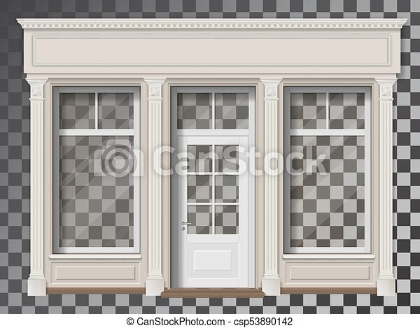 Shop front with column transparent window - csp53890142