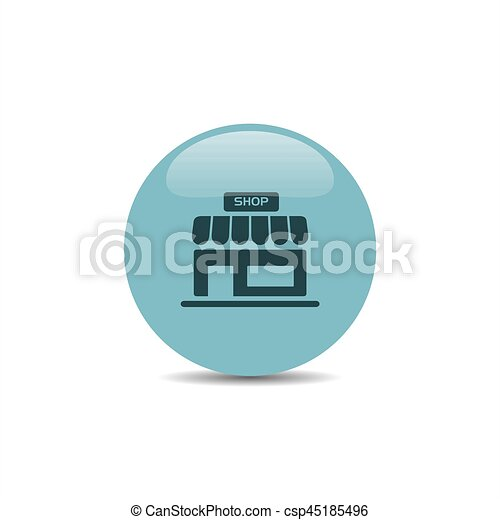 Shop icon on a blue round button - csp45185496