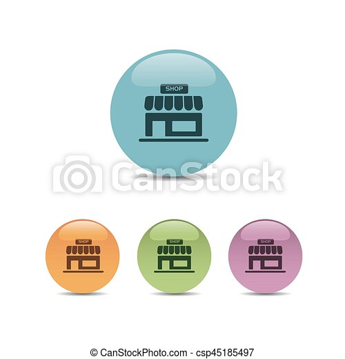 Shop icon on a colored round buttons - csp45185497