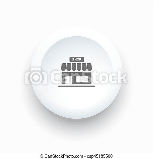 Shop icon on a white simple button - csp45185500