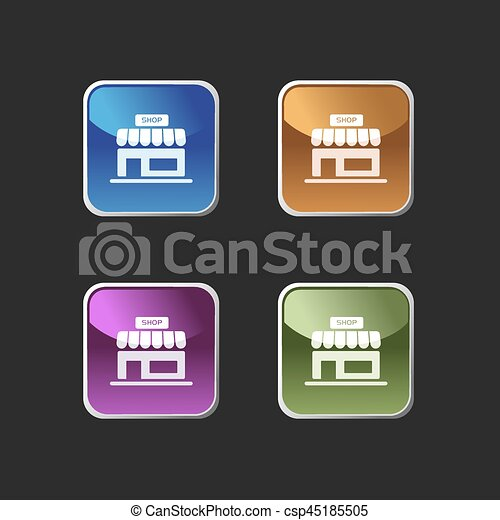 Shop icon on colored square buttons - csp45185505