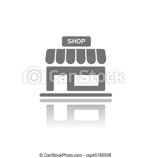 Shop icon with reflection on a white background - csp45185508
