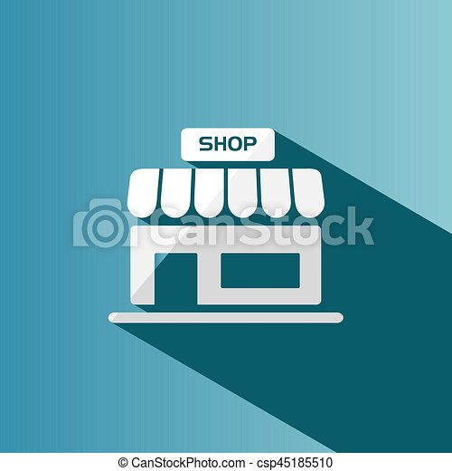 Shop icon with shadow on a blue background - csp45185510