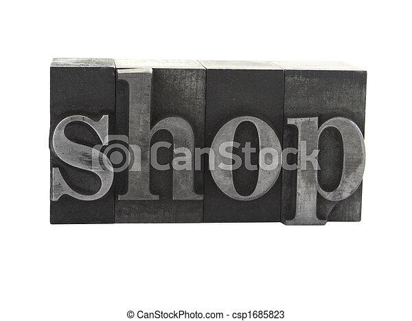shop in old metal type - csp1685823