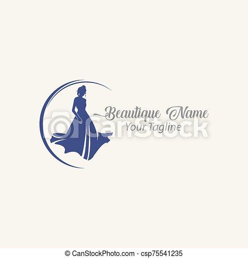 Shop logo fashion woman, black silhouette diva. Company brand name design - csp75541235