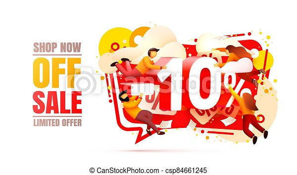 Shop now off sale, 10 interest discount, limited offer. Vector - csp84661245