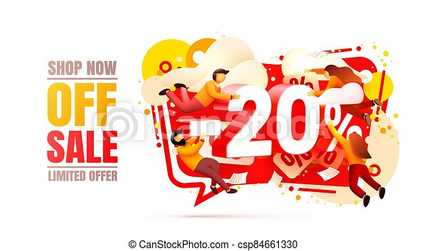 Shop now off sale, 20 interest discount, limited offer. Vector - csp84661330