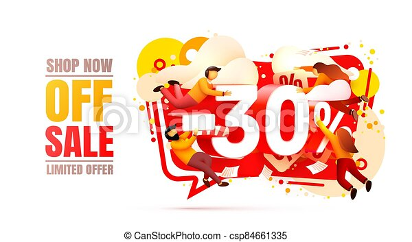 Shop now off sale, 30 interest discount, limited offer. Vector - csp84661335
