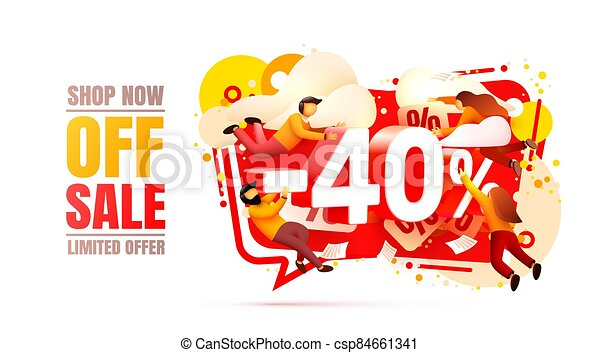 Shop now off sale, 40 interest discount, limited offer. Vector - csp84661341