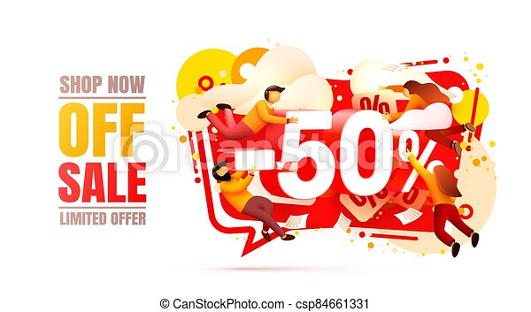 Shop now off sale, 50 interest discount, limited offer. Vector - csp84661331