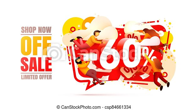 Shop now off sale, 60 interest discount, limited offer. Vector - csp84661334