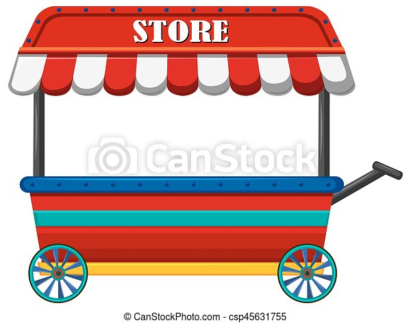 shop on wheels with red roof illustration clipart vector search rh canstockphoto co uk shop clipart black and white shop clsc