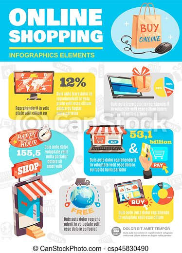 shop online infographic poster e commerce process infographics with