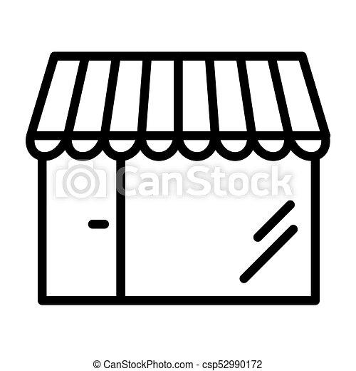 Shop Pixel Perfect Vector Thin Line Icon 48x48. Store Simple Minimal Pictogram - csp52990172