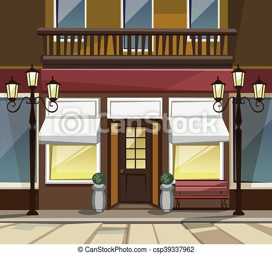 Shop Restaurant Cafe Store Front With Windows Vector Old
