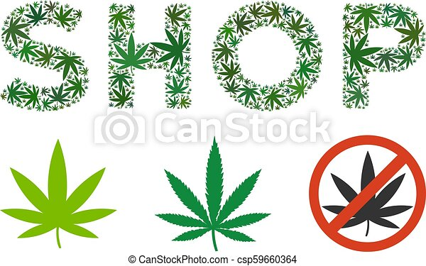 Shop Text Collage Of Weed Leaves Shop Label Collage Of Cannabis