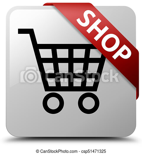 Shop white square button red ribbon in corner - csp51471325