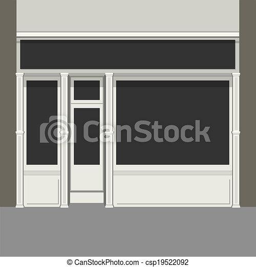 Shopfront with Black Windows. Light Store Facade. Vector. - csp19522092