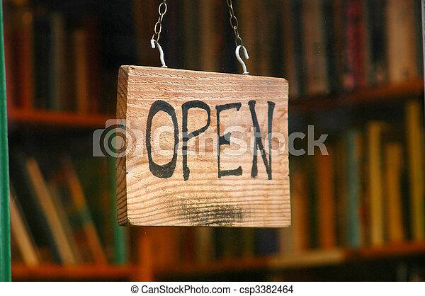 shoppen , beeld, meldingsbord, venster, boek, detailhandel, open, winkel - csp3382464