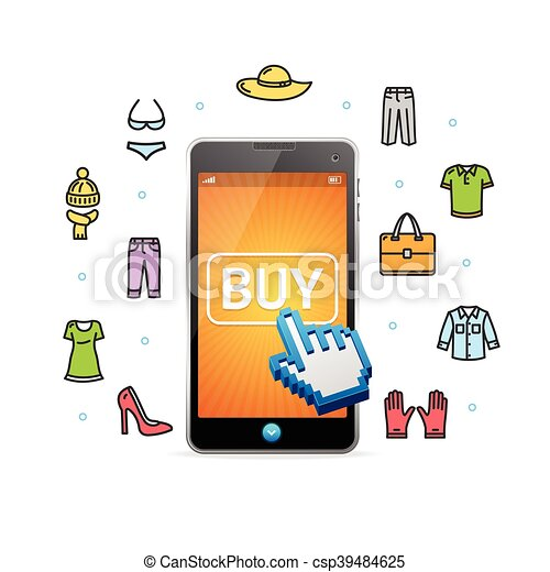 low priced d3cea eed50 shoppen, beweglich, app., vektor, online, kleidung