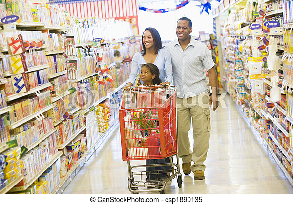 shoppen , gezin, supermarkt - csp1890135