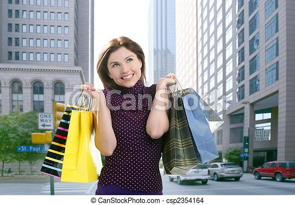 Shopper woman shopping on the city - csp2354164