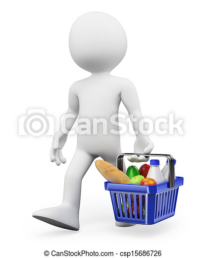 shopping alimento, persone., sano, 3d, bianco - csp15686726