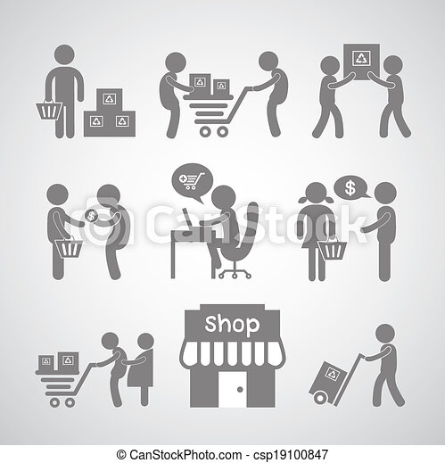 shopping and delivery symbol - csp19100847