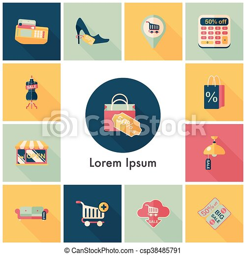 Shopping and online shop icons set - csp38485791
