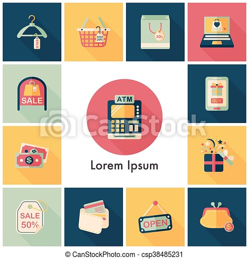 Shopping and online shop icons set - csp38485231