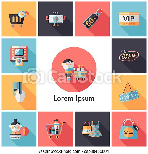 Shopping and online shop icons set - csp38485804