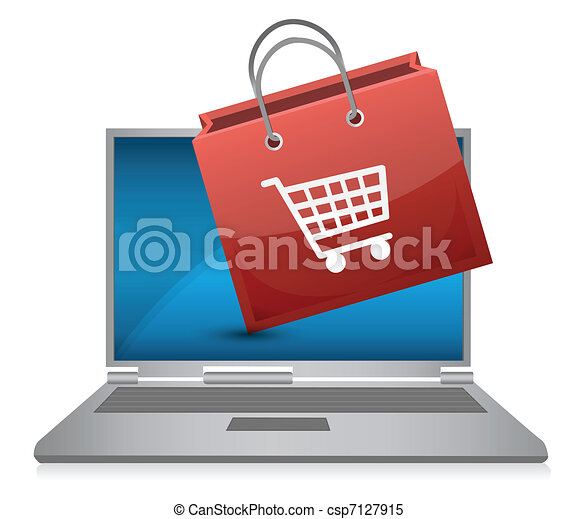 Shopping bag and laptop - csp7127915