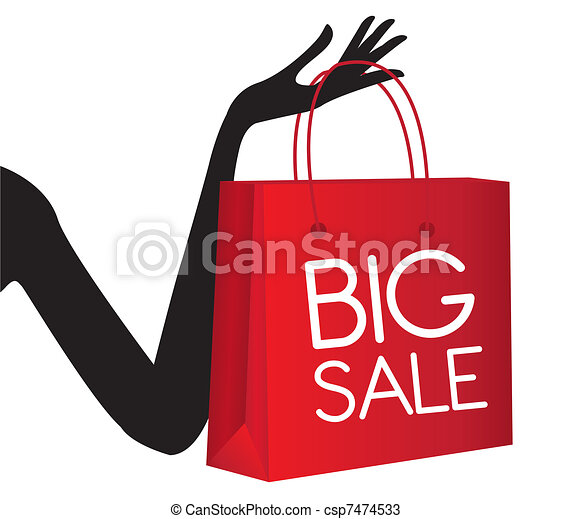 red shopping bag with silhouette hand isolated over white vectors rh canstockphoto com shopping bag vector illustration shopping bag vector design