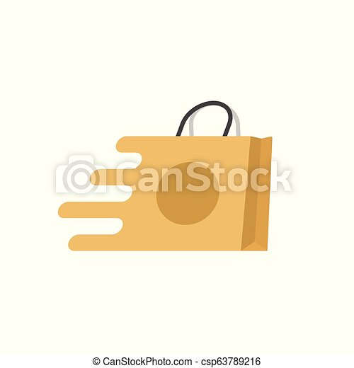 Shopping bag fast vector logo, flat cartoon quick paper bag icon isolated, concept of fast delivery or shipping clipart - csp63789216