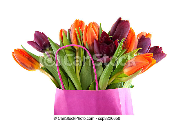 Shopping bag ful of tulips - csp3226658