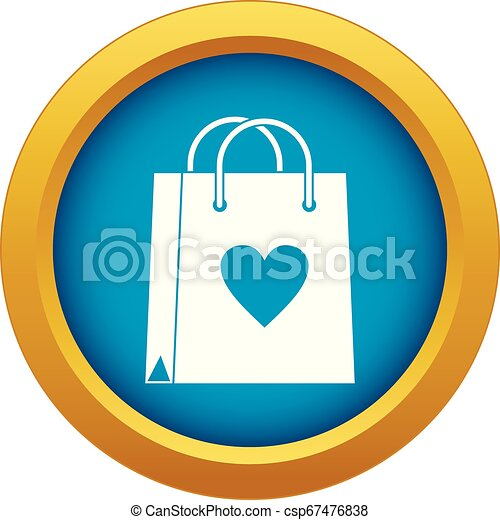 Shopping bag icon blue vector isolated - csp67476838