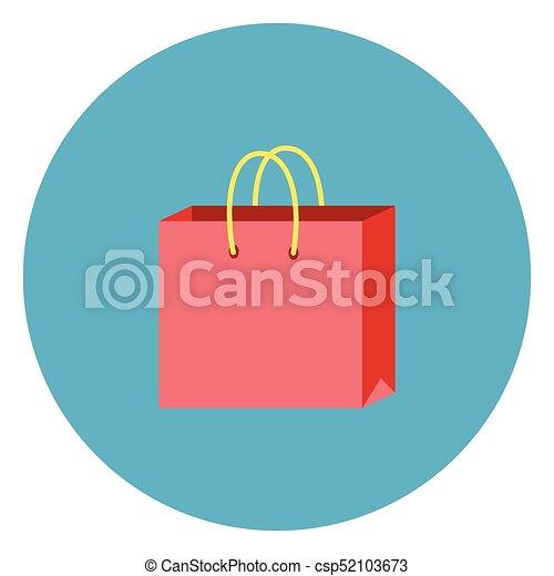 Shopping Bag Icon On Round Blue Background - csp52103673