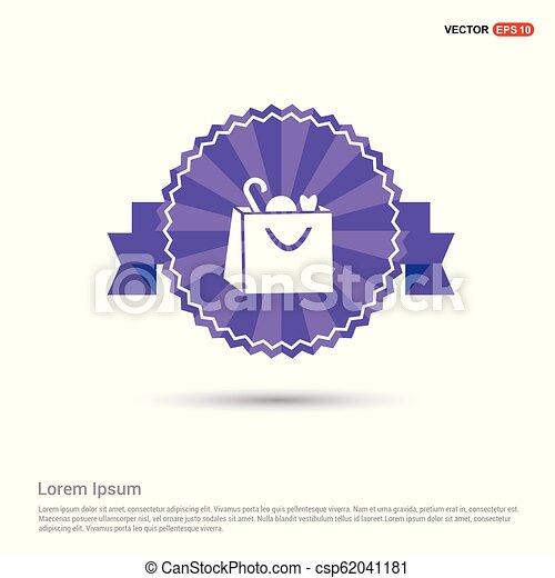 Shopping bag icon - Purple Ribbon banner - csp62041181
