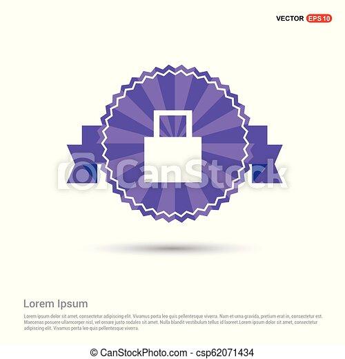 Shopping bag icon - Purple Ribbon banner - csp62071434