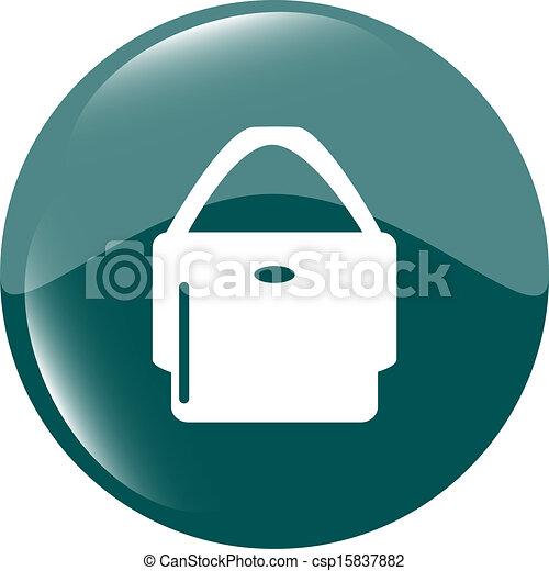 shopping bag icon web button - csp15837882