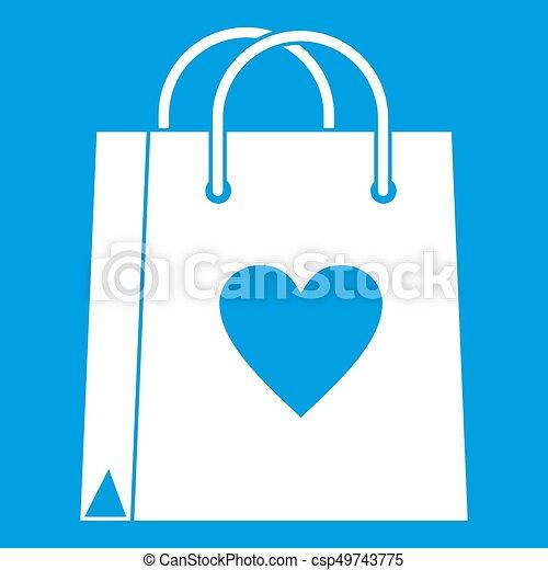 Shopping bag icon white - csp49743775