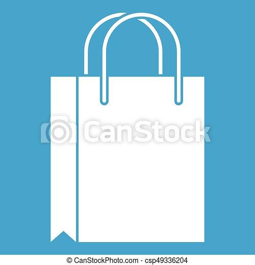 Shopping bag icon white - csp49336204
