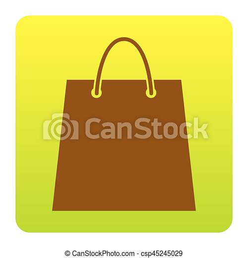 Shopping bag illustration. Vector. Brown icon at green-yellow gradient square with rounded corners on white background. Isolated. - csp45245029