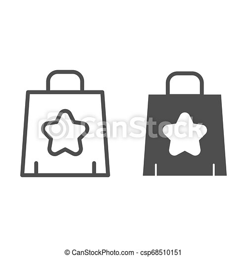 Shopping bag line and glyph icon. Paper bag vector illustration isolated on white. Package outline style design, designed for web and app. Eps 10. - csp68510151